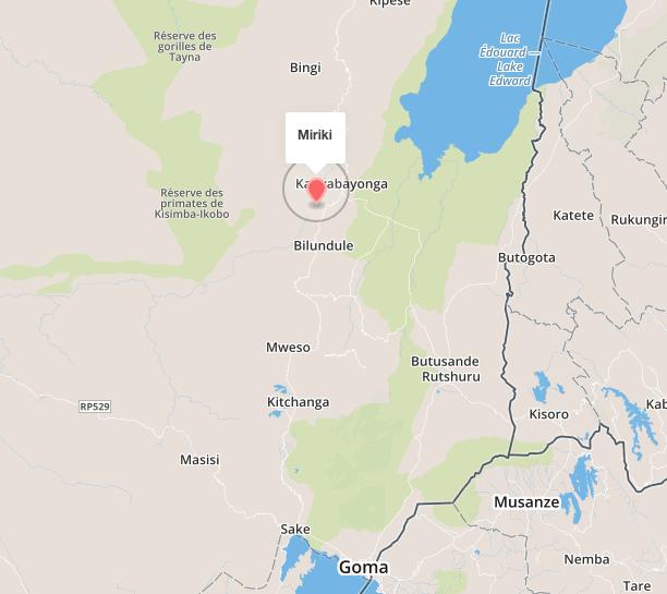 Miriki, 110 km au nord de Goma