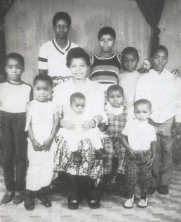 The Kabila family. Maman Sifa Mahanya in the center. Joseph and Jaynet at the far right.